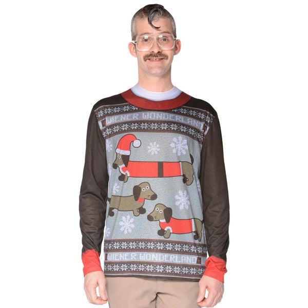 Faux Real Men's Wiener Wonderland Sweater T-Shirt