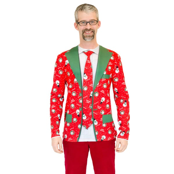 Faux Real Men's Red X-Mas Matching Suit and Tie T-Shirt