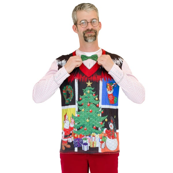 Noel Ugly Christmas Vest Long Sleeve Shirt with Bow Tie
