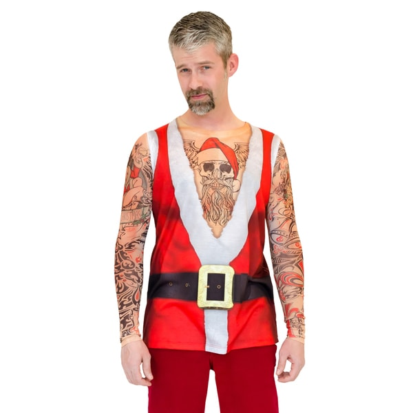 Ugly Christmas Santa Suit Tank with Long Sleeve Tattoos