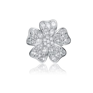 Collette Z Sterling Silver Cubic Zirconia Wide Flower Pin