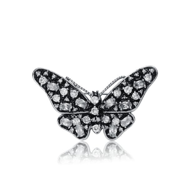 Collette Z Sterling Silver White Cubic Zirconia Black Butterfly Pin