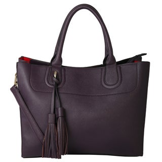 Rimen and Co. Pu Leather Solid Color Double Tassell Top Zipper Closure Tote