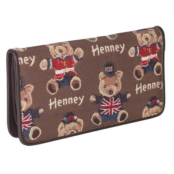 Henney Bear Henney Dark Brown Wristlet Wrist Strap Wallet