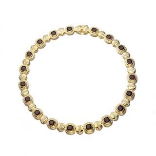Collette Z Gold Overlay Dark Brown Cubic Zirconia Mini Square Necklace