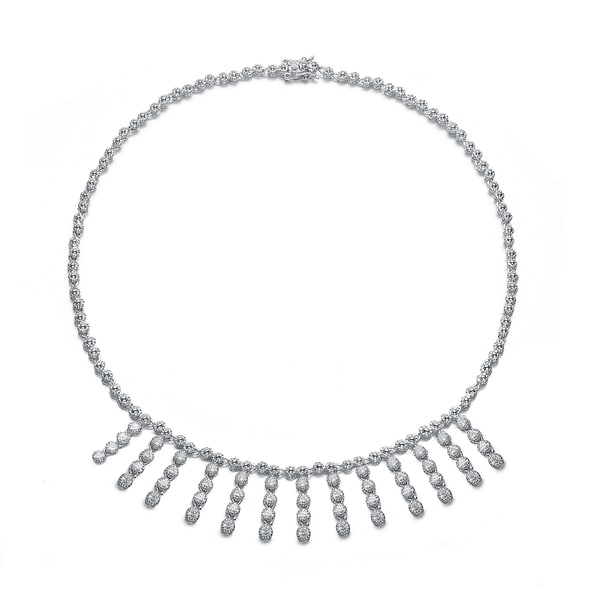 Collette Z Sterling Silver Clear Cubic Zirconia Thirteen Strand Necklace