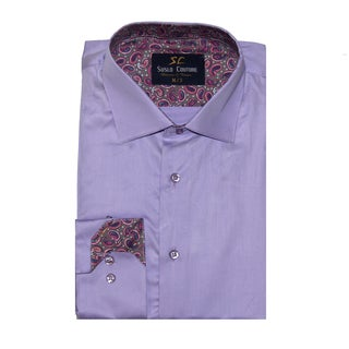 Azaro Uomo Men's Leo Lavender Button Down
