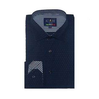 Azaro Uomo Men's Rain Navy Button Down