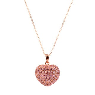 Collette Z Sterling Silver Cubic Zirconia Pink Heart Pendant