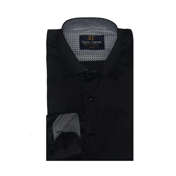 Azaro Uomo Men's Sal Black Button Down