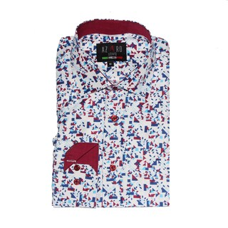 Azaro Uomo Men's Sky Red Button Down