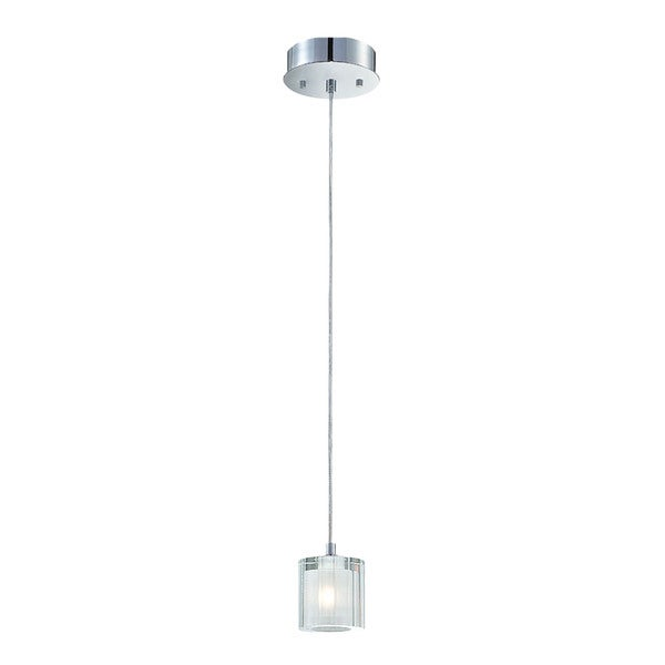 Alico Tiara 1-light Pendant in Chrome and Clear Crystal with Frosted Interior Glass