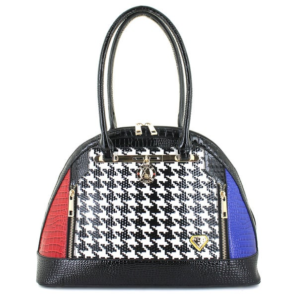 LANY Houndstooth Luxe Bowler Bag