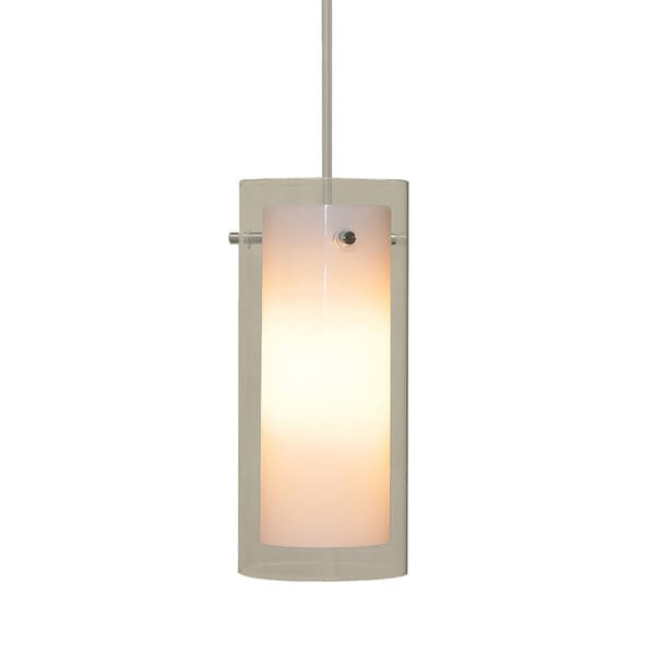 Alico Tubolaire 1-light Pendant in Chrome with Clear Outer Glass and White Opal Inner Glass