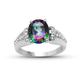 Malaika Sterling Silver 3 1/2ct TGW Mystic Topaz and White Topaz Ring