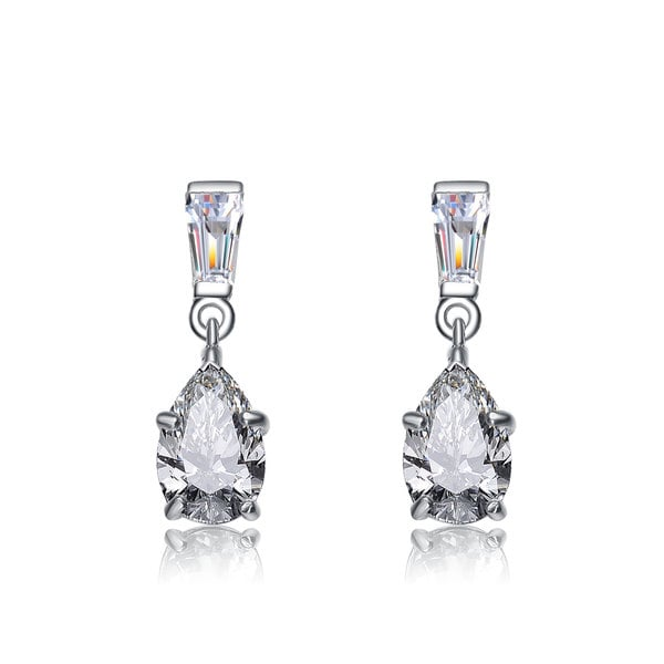 Collette Z Sterling Silver Clear Cubic Zirconia Luminous Dangle Earrings