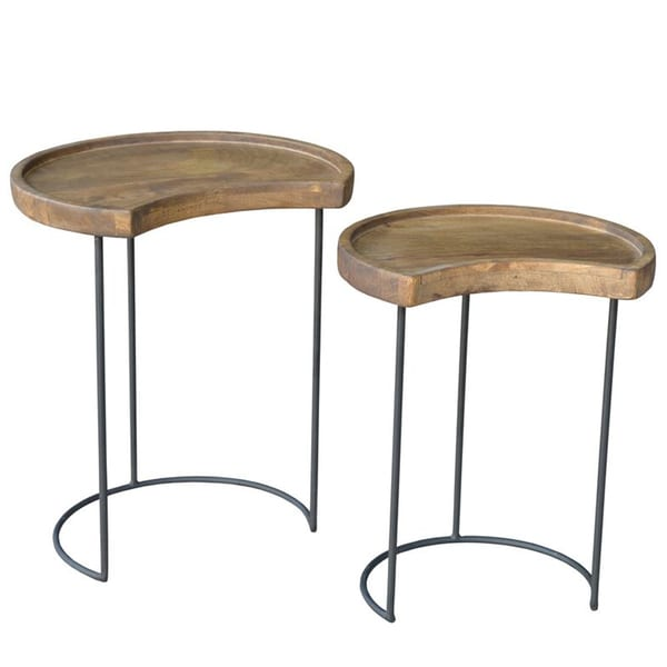 Gerrit Acacia Wood and Cast Iron Side Table Set