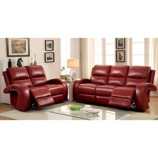 Furniture of America Wellston Contemporary 2-piece Leatherette Reclining Sofa Set