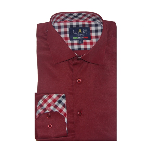 Azaro Uomo Men's Fred Burgundy Button Down
