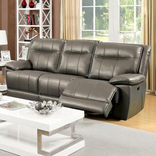 Furniture of America Loffman Grey Bonded Leather Power Assist Reclining Sofa