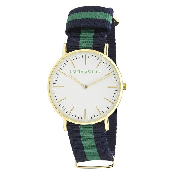 Laura Ashley Ladies Blue Green and Blue Knitted Colored Band with Gold Ultra-Thin Case Watch