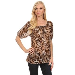 Moa Women's Cheetah Print Puff Sleeve Top