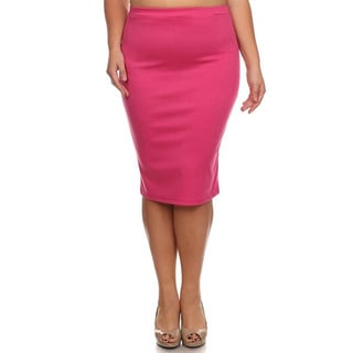 Moa Collection Women's Plus Size Women's Solid Pencil Skirt