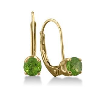 1/2 Carat Peridot Leverback Earrings In 14 Karat Yellow Gold