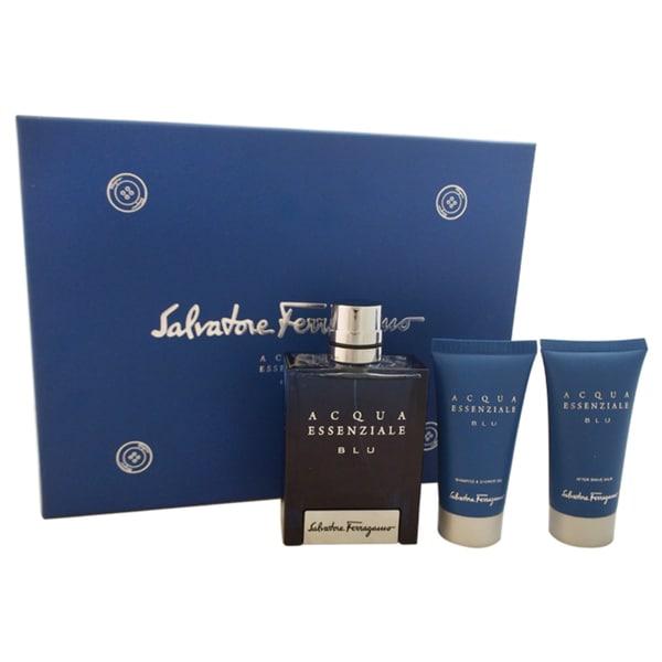 Salvatore Ferragamo Acqua Essenziale Blu Men's 3-piece Gift Set