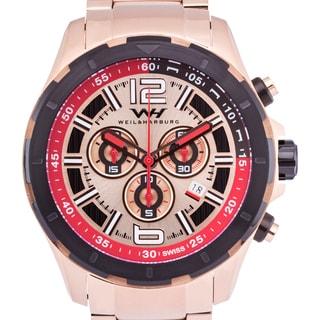 Weil & Harburg Thornton Swiss Chronograph Men's Watch 50mm Stainless Steel Case & Stainless Steel Link Bracelet