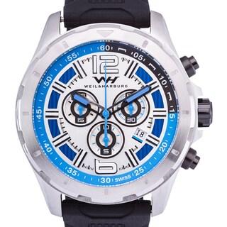 Weil & Harburg Thornton Swiss Chronograph Men's Watch 50mm Stainless Steel Case & Silicone Strap