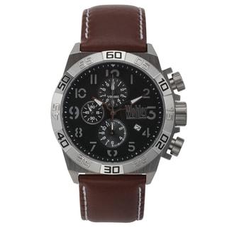 Wohler Lorhard Chronograph Men's Watch Quartz 20mm Genuine Leather Strap Accent Color Stitching