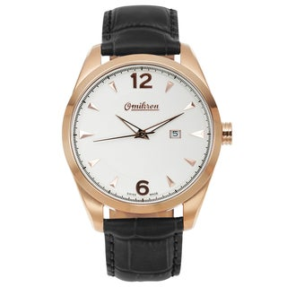 Omikron Swiss Made Paladin Quartz Men's Watch Genuine Leather Strap