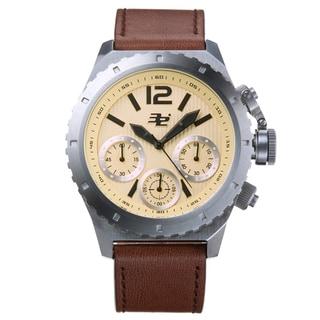 32 Degrees Surge Chronograph Men's Watch Quartz 48 mm Stainless Steel Case Genuine Leather Strap