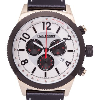 Paul Perret Gaston Swiss Chronograph Mens watch 21mm Genuine Leather Strap