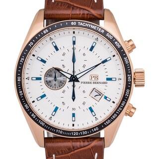 Pierre Bernard Esperto Swiss Chronograph Men's Watch with Quartz Face, Tachymeter, and 44 mm Stainless Steel Case