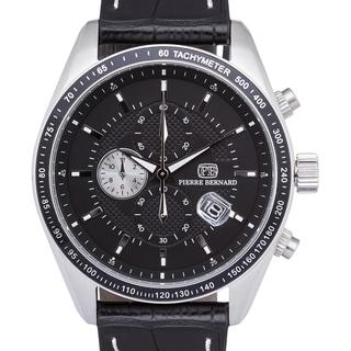 Pierre Bernard Esperto Chronograph Men's Watch with Quartz Movement, Tachymeter, and 44 mm Stainless Steel Case