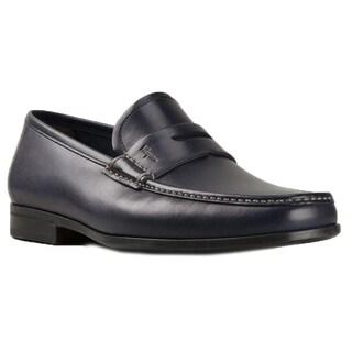 Salvatore Ferragamo Narni Navy Leather Penny Loafers