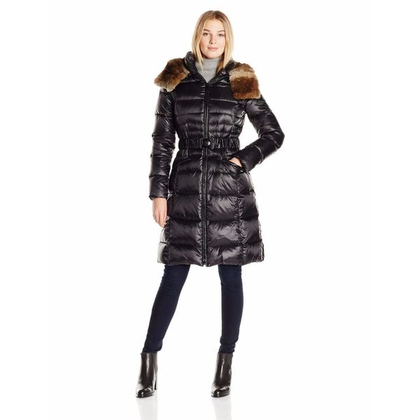 Dawn Levy Sabine Black Down Hooded Puffer Belted Coat