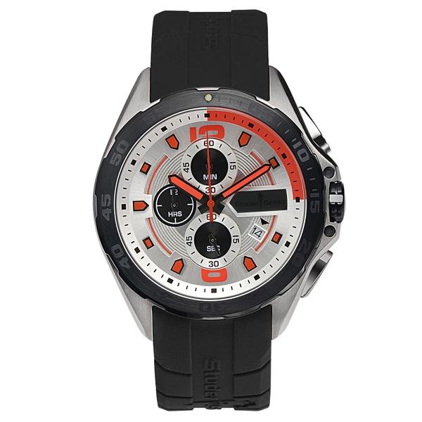 Studer Schild Cantor Chronograph Men's Watch Quartz 43mm Stainless Steel Case 23mm Silicone Strap
