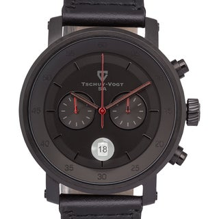Tschuy-Vogt A20 Havoc Men's Swiss Chronograph Watch 44mm Case Sapphire Crystal Genuine Leather Strap 22mm