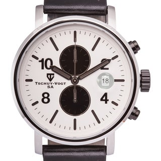 Tschuy-Vogt M60 Patton Men's Chronograph Watch Super Luminova 22mm Genuine Leather Strap