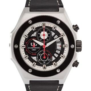 Ulysse Girard Dionne Swiss Chronograph Men's Watch Screw-In Ceramic Bezel 23mm Genuine Leather Strap