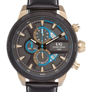 Ulysse Girard Masson Swiss Chronograph Men's Watch Stainless Steel 22mm Genuine Leather Strap