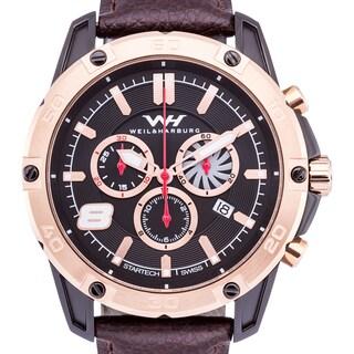 Weil & Harburg Huxley Swiss Chronograph Men's Watch Screwdown Crown Genuine Leather Strap 20mm