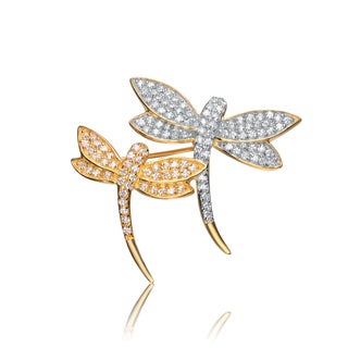Collette Z Sterling Silver Cubic Zirconia Duo Dragonfly Pin