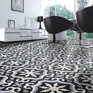 Handmade Tanger in Black, Grey, White Tile, Pack of 12 (Morocco)