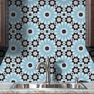 Pack of 12 Agdal Blue and Grey Handmade Cement and Granite 8x8-inch Floor and Wall Moroccan Tiles (Morocco)