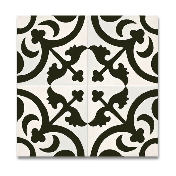 Pack of 12 Nador Black and White Handmade Cement and Granite 8x8-inch Floor and Wall Moroccan Tiles (Morocco)