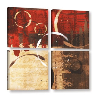 ArtWall Jennifer Pugh's Grunged Red Revolution II, 4 Piece Gallery Wrapped Canvas Square Set